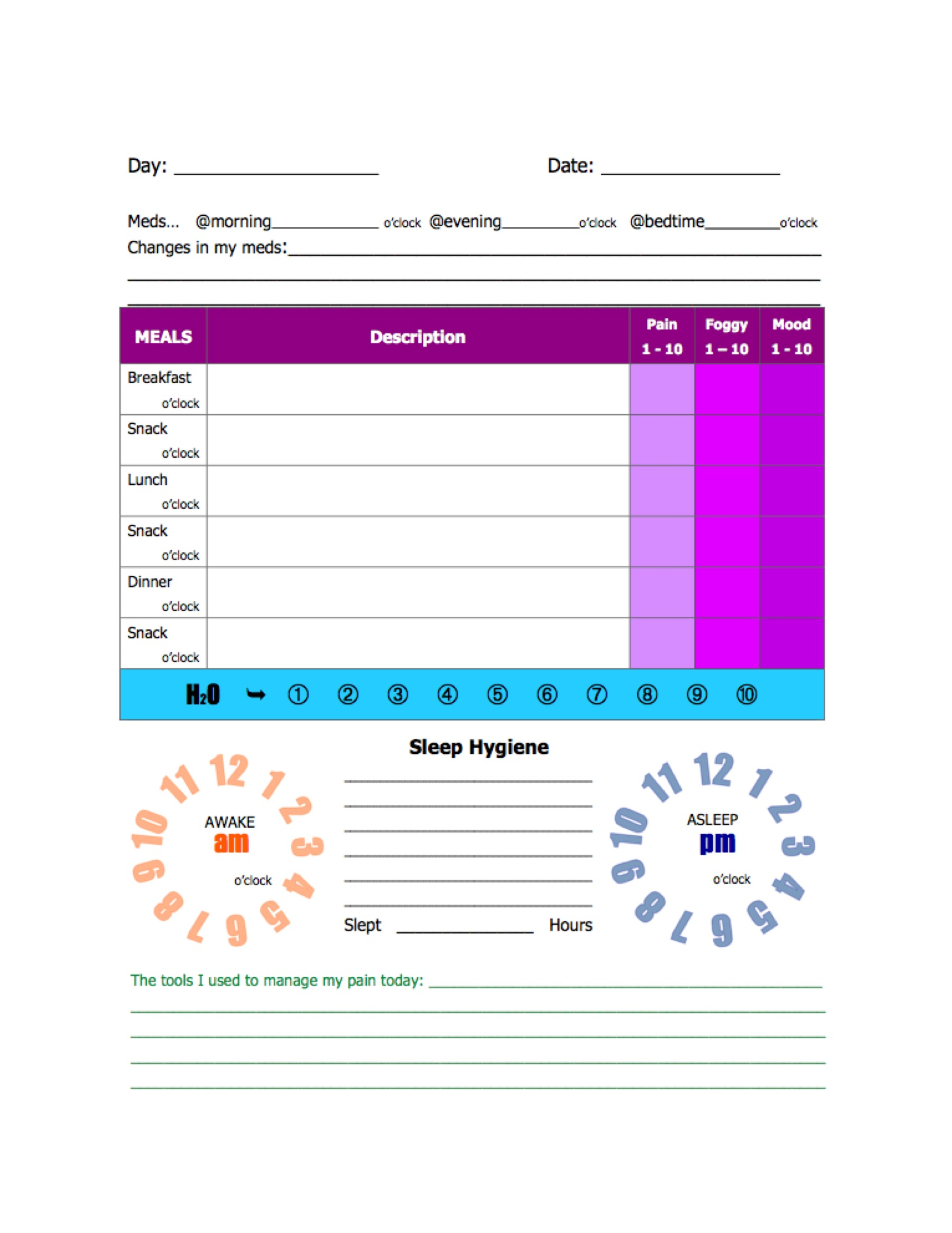 a simple post my fibro journal template use it track your daily