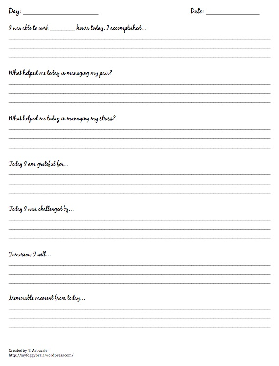 journal my foggy brain – Wellness Recovery Action Plan Worksheets